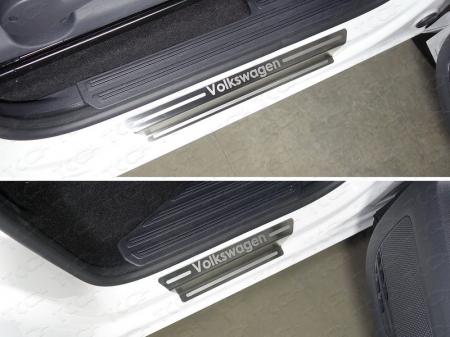Volkswagen Amarok 2016-Накладки на пороги (лист шлифованный надпись Volkswagen)